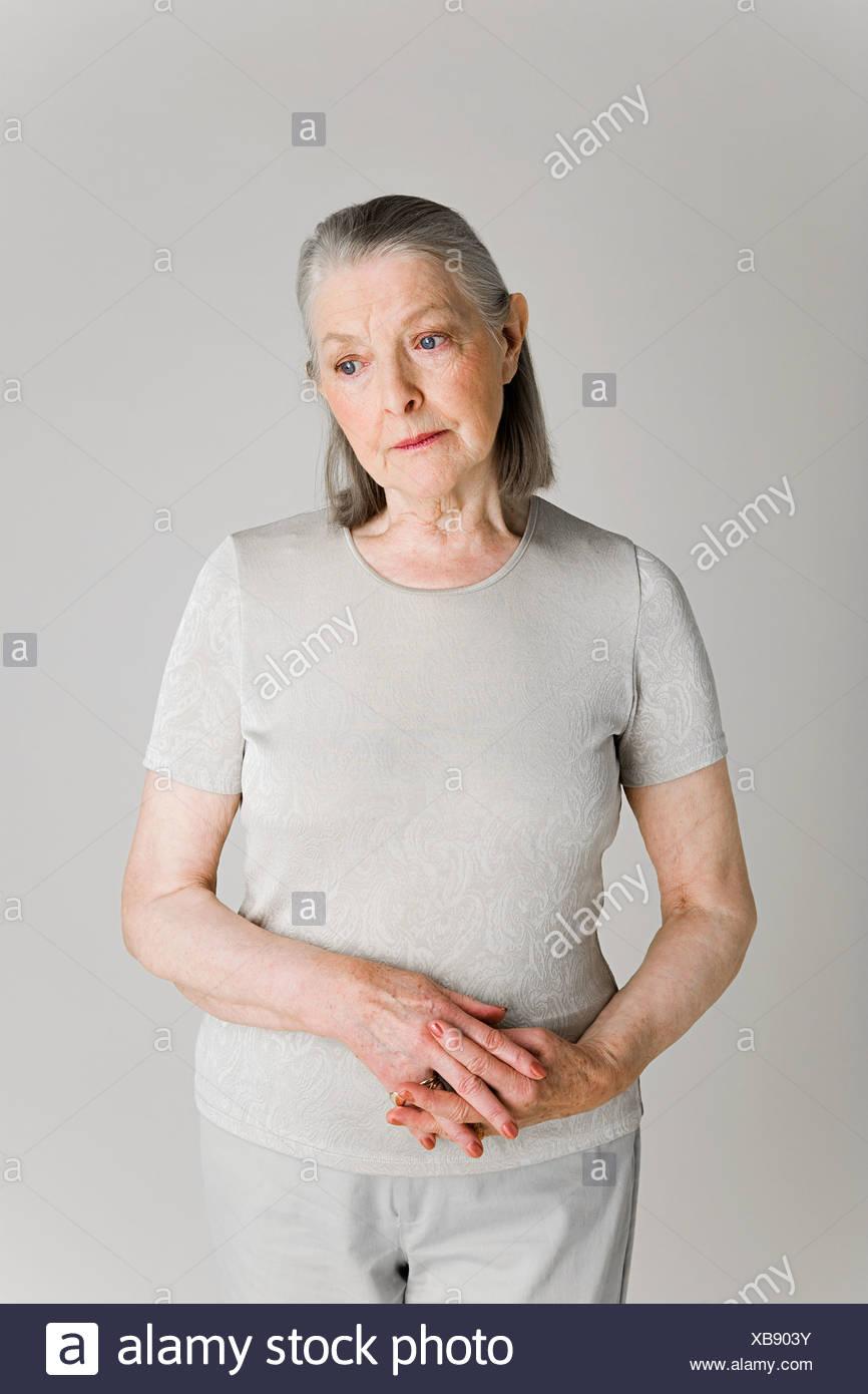 Senior woman looking worries - Stock Image
