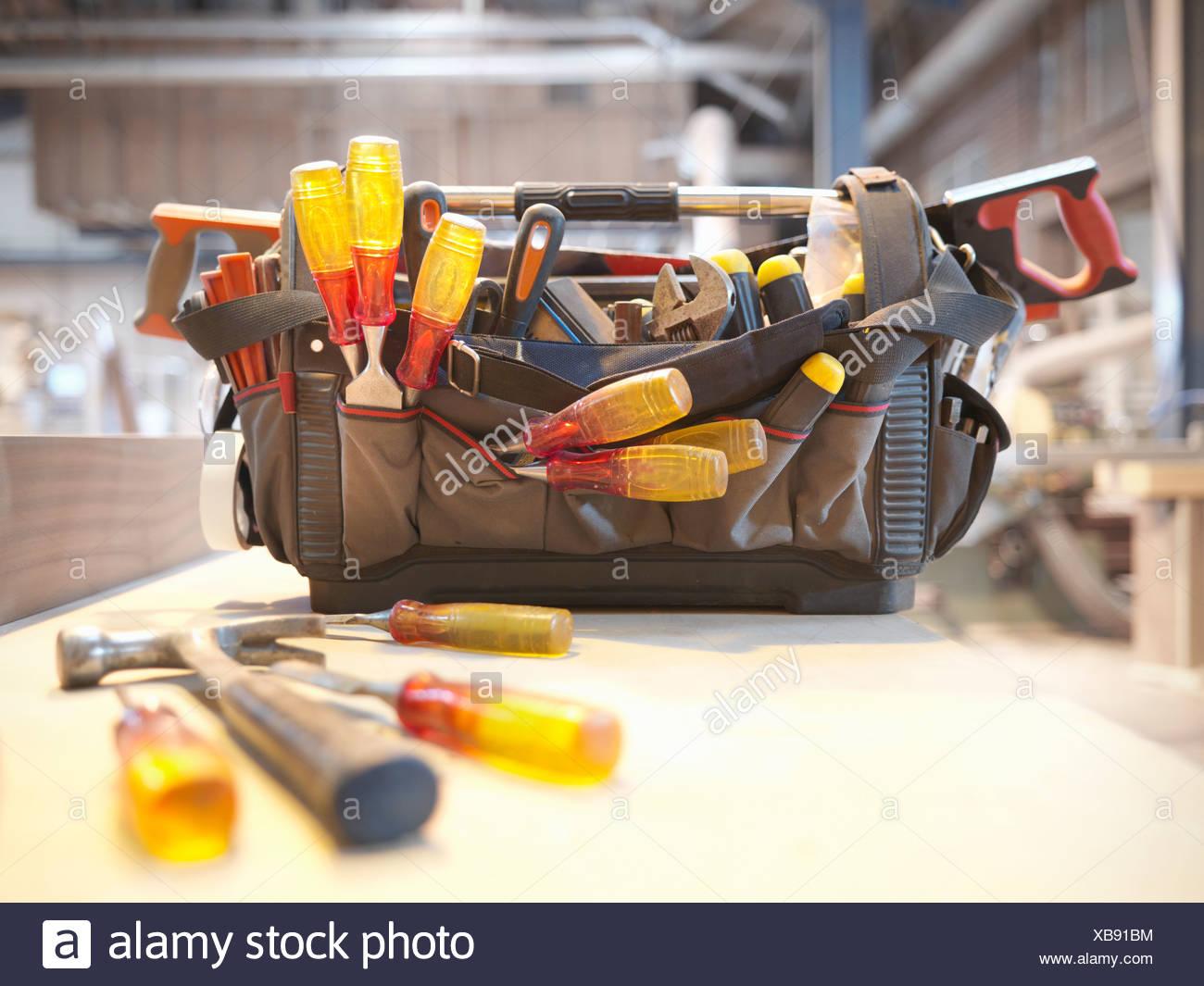 Tool kit in woodwork workshop - Stock Image