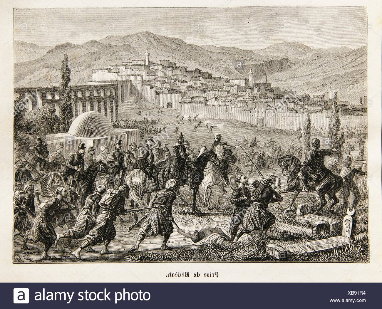 Capture of Medea, French troops during the colonization of Algiers, 19th century - Stock Image