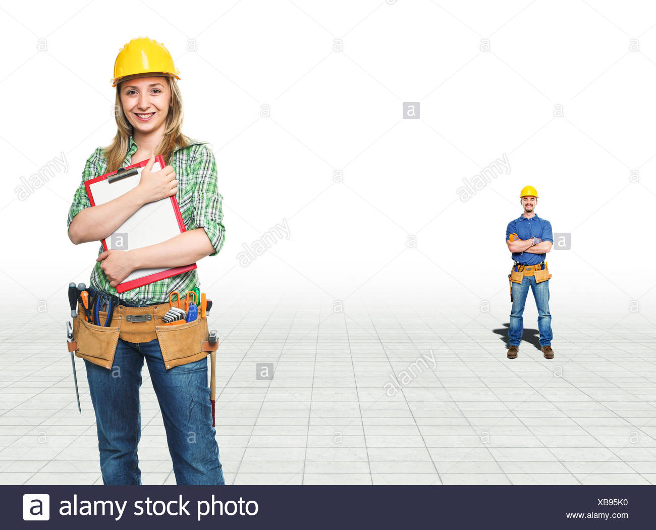 woman, adult, adults, constructor, handyman, workers, laborer, worker, - Stock Image