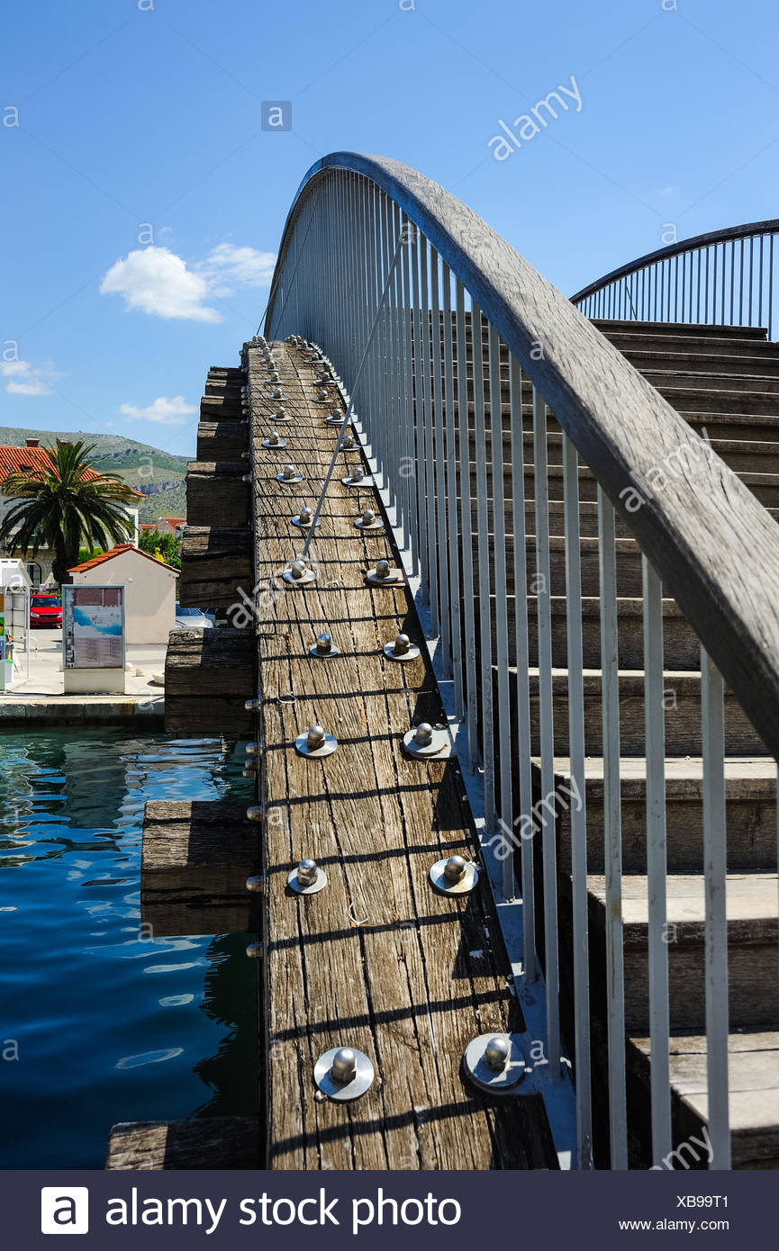 Bridge for pedestrians over a canal in Trogir Stock Photo