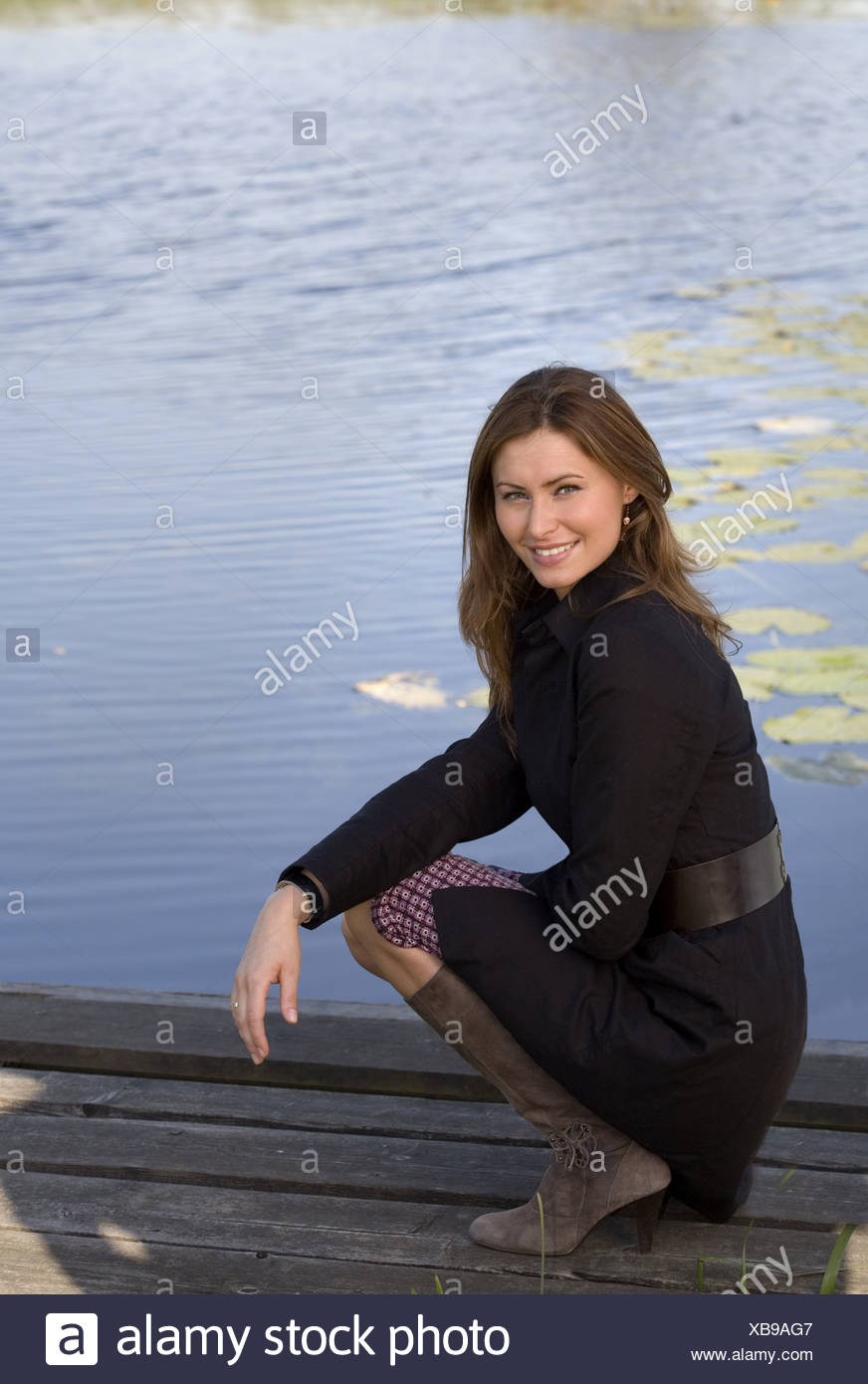 Happy portrait beautiful young woman smile - Stock Image