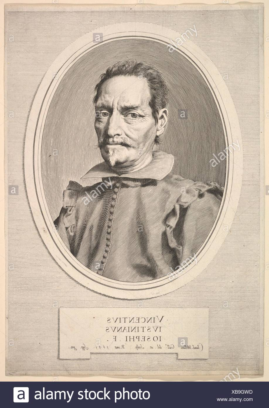 Portrait of Vicenzo Giustiniani. Series/Portfolio: Galleria justiniana del marchese Vincenzo Giustiniani, pl. 2; Artist: Claude Mellan (French, - Stock Image