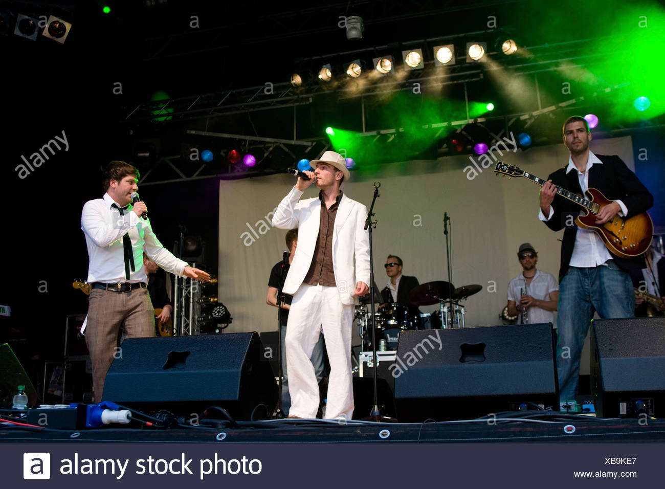 The Swiss rap and funk band Maenner am Meer live at soundcheck, Open Air festival in Sempach-Neuenkirch, Switzerland, Europe - Stock Image