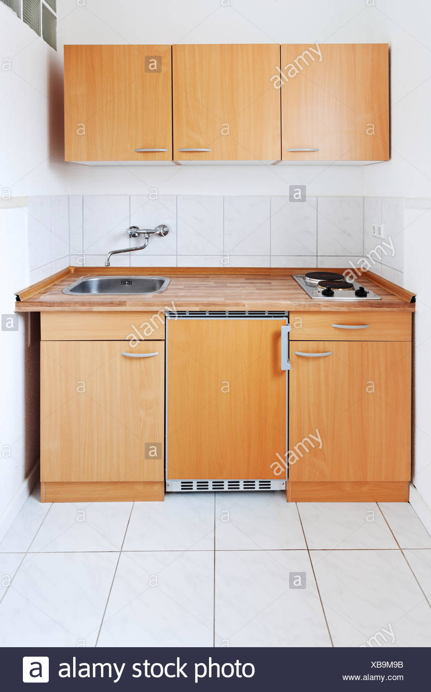 small kitchen with simple furniture set Stock Photo ...