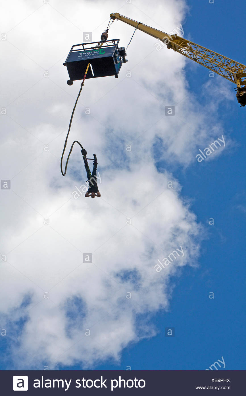 bungee jumping in Olga Park, Germany, North Rhine-Westphalia, Ruhr Area, Oberhausen Stock Photo
