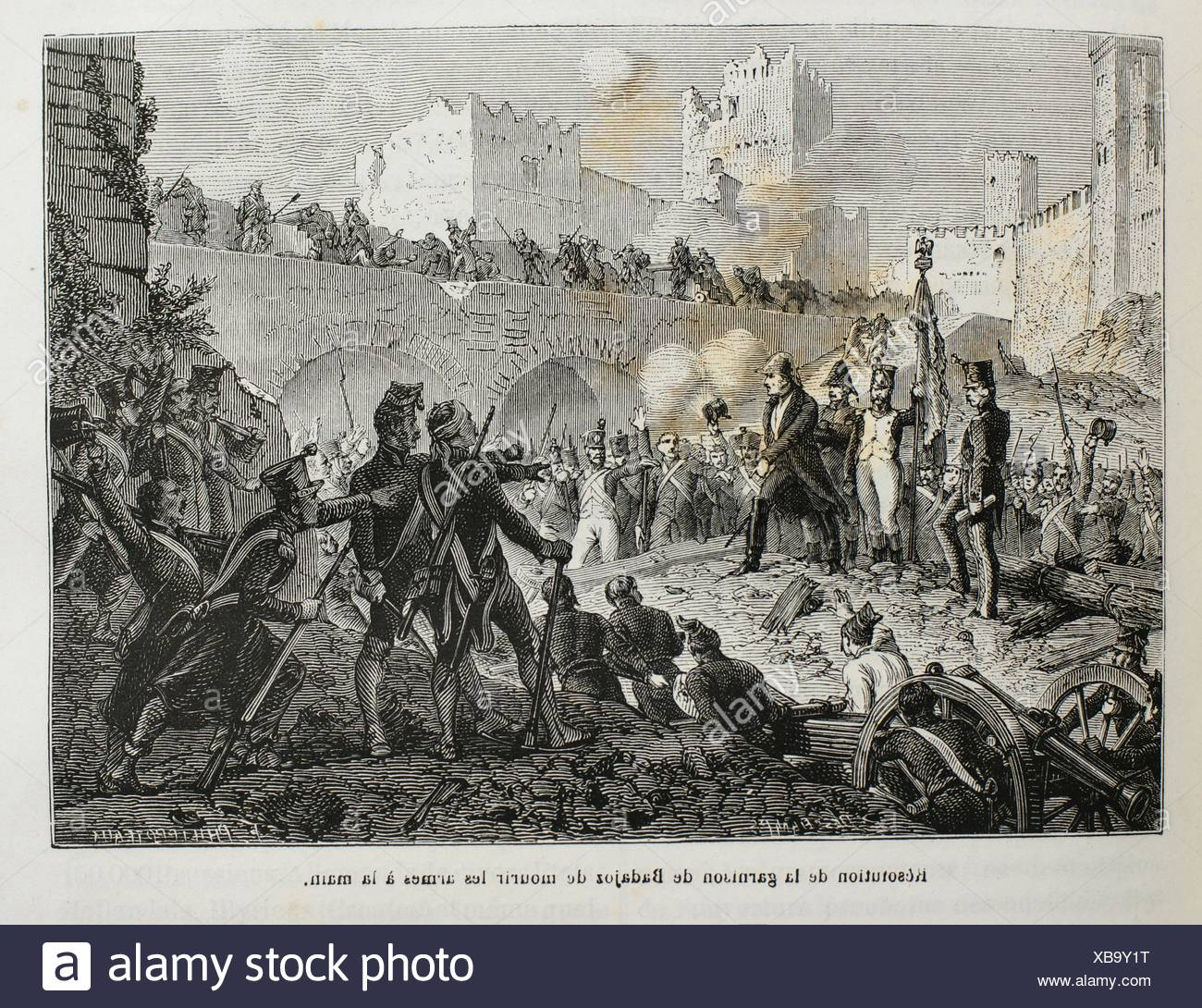 France, Spain-History-19th Century - resolution of the spanish army deciding not to surrender to the Napoleon troops, at Badajoz - Stock Image