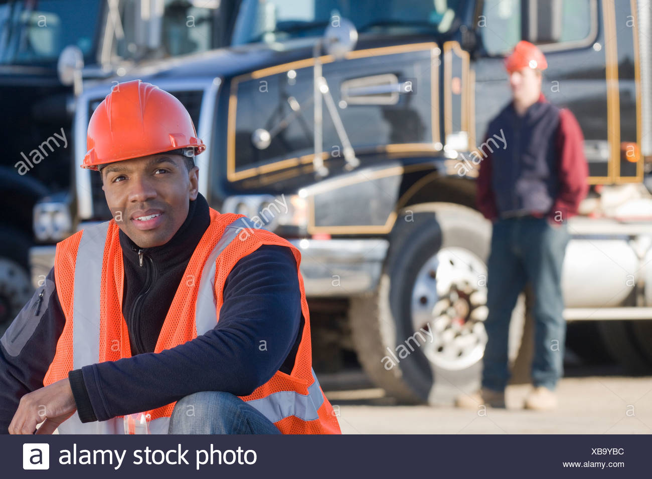 Engineer at a construction site - Stock Image