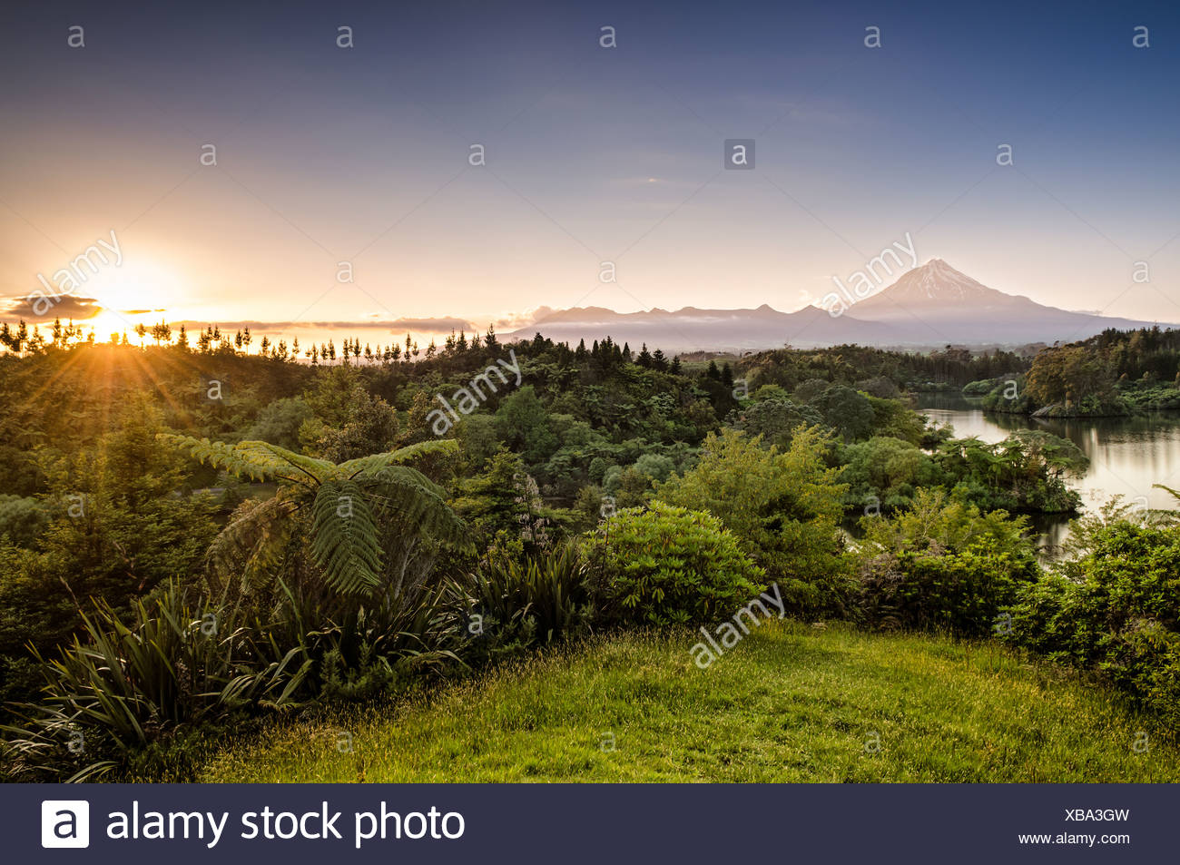 Mt. Egmont, Mt. Taranaki, currently an inactive volcano, North Island, New Zealand - Stock Image