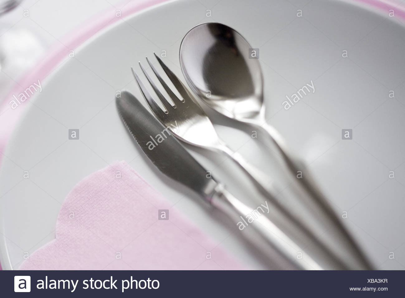 Table cover, white-pink, - Stock Image