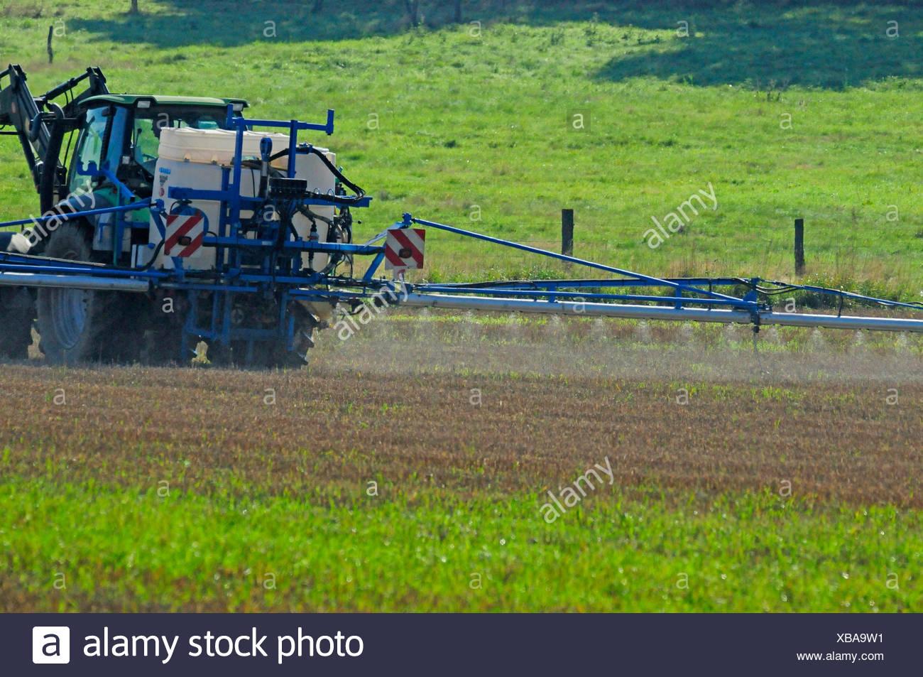 Traktor spritzt Glyphosat zur Unkrautvernichtung im Sommer, Deutschland, Rheinland-Pfalz, Westerwald | tractor spraying glyphosa - Stock Image