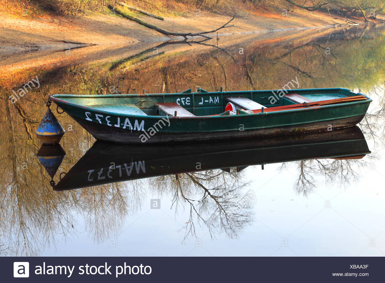 rowing boat at the shore of a water at an Old Rhine landscape, Germany - Stock Image