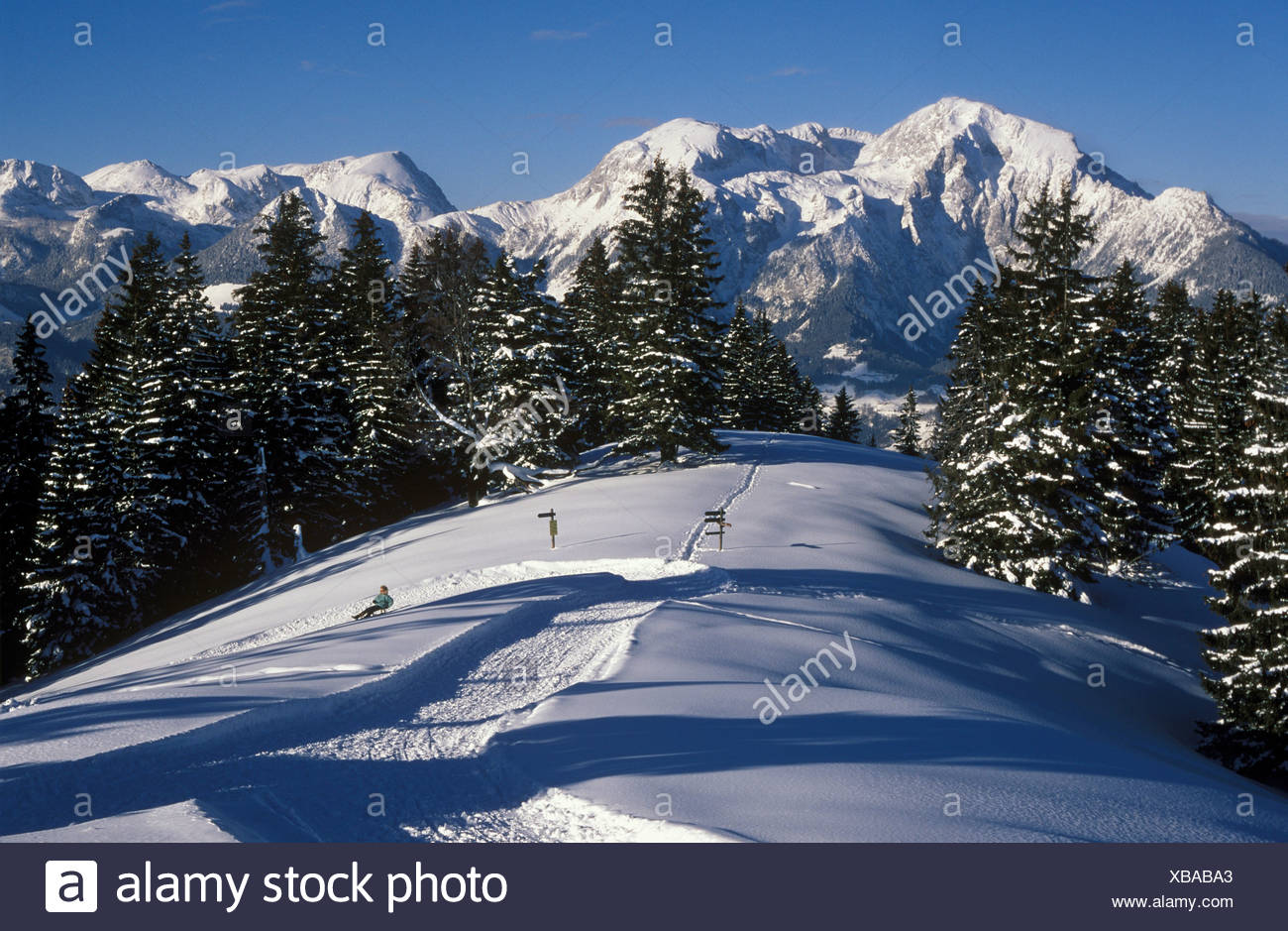 Toter Mann (Dead Man Mountain), view toward Mount High Goell, Berchtesgadener Alpen (Berchtesgaden Alps), Oberbayern (Upper Bav Stock Photo