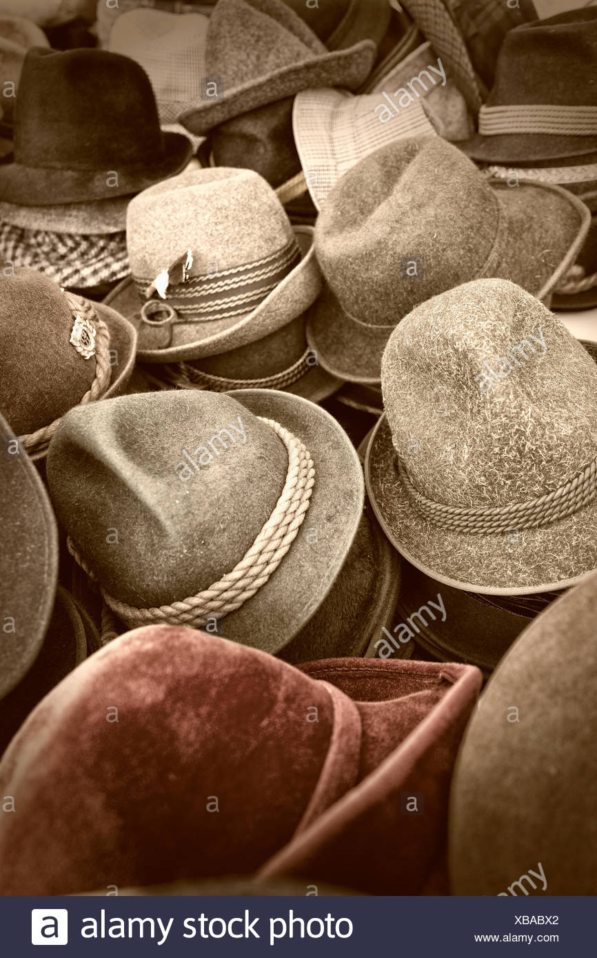 Pile of old hats market stall flea secondhand - Stock Image