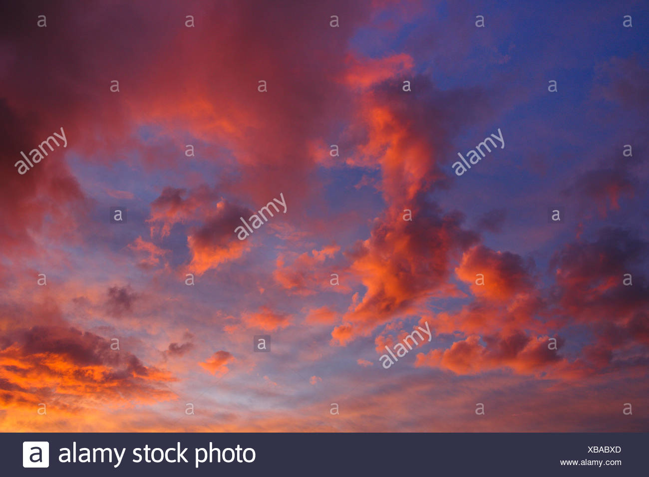 cloudy sky in sunset, Switzerland - Stock Image