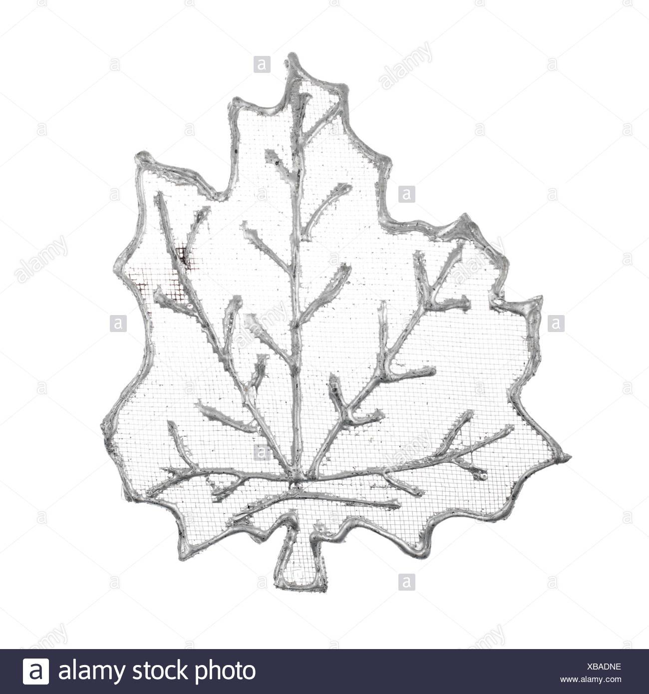 Christmas decorative silver leaf - Stock Image