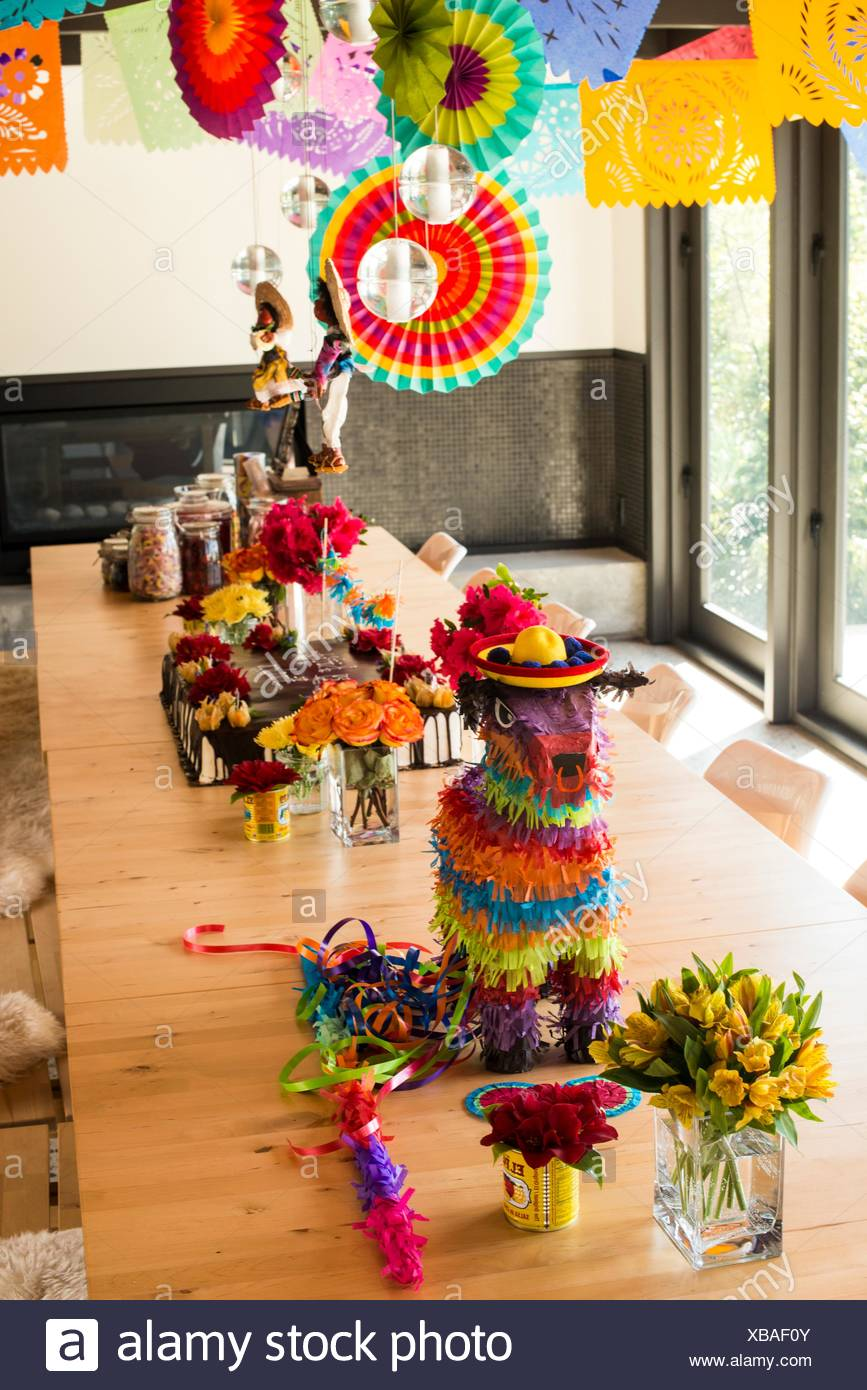 Mexican theme party decorations in a dining room of a house in Vancouver BC Canada.  sc 1 st  Alamy : decorating ideas for mexican themed party - www.pureclipart.com