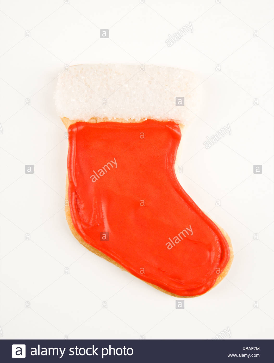 Christmas Stocking Sugar Cookie With Decorative Icing Stock Photo