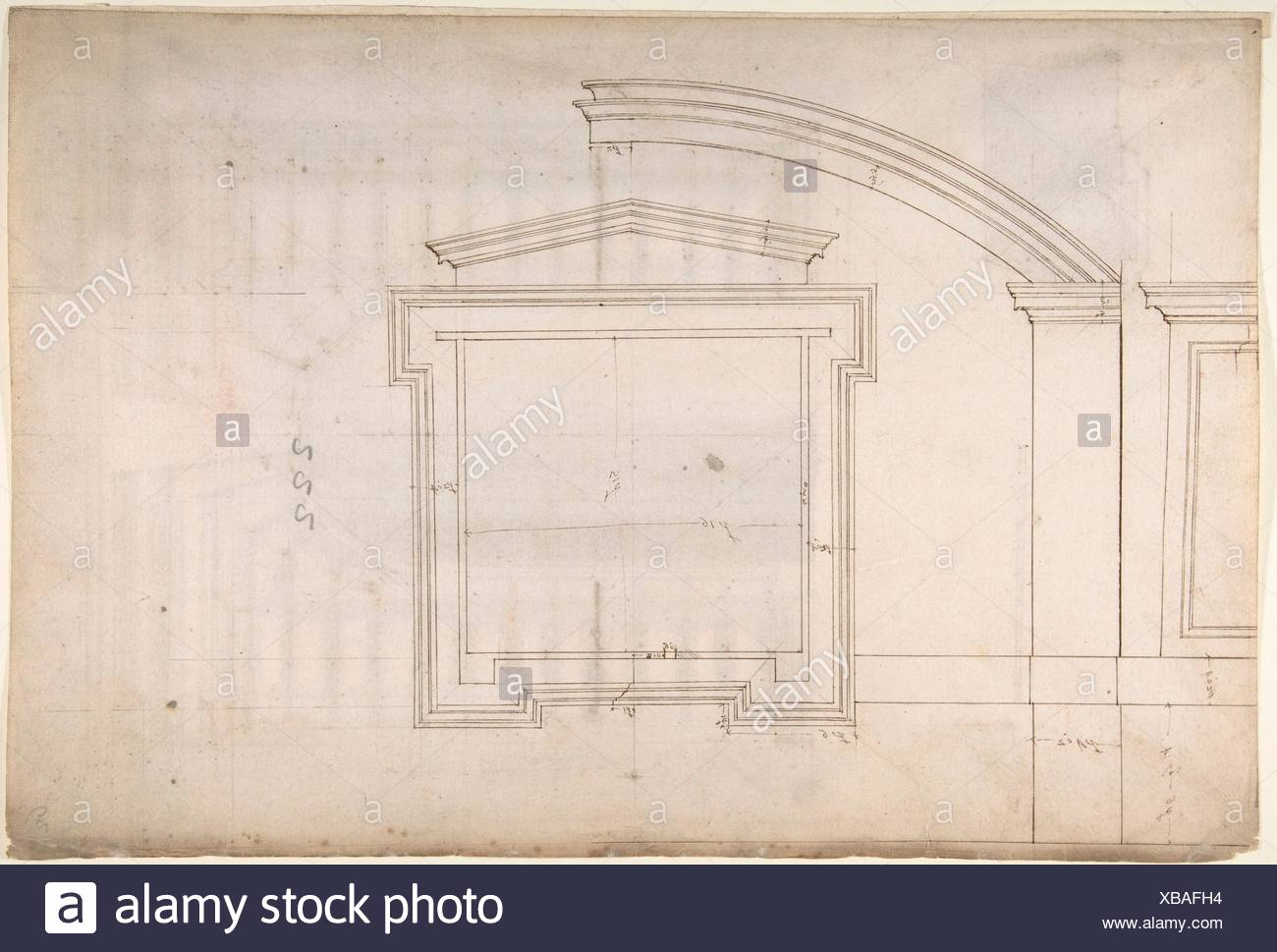 St. Peter´s, apse, window, elevation (recto) Unidentified, portal, elevation (verso). Draftsman: Drawn by Anonymous, French, 16th century; Artist: Stock Photo