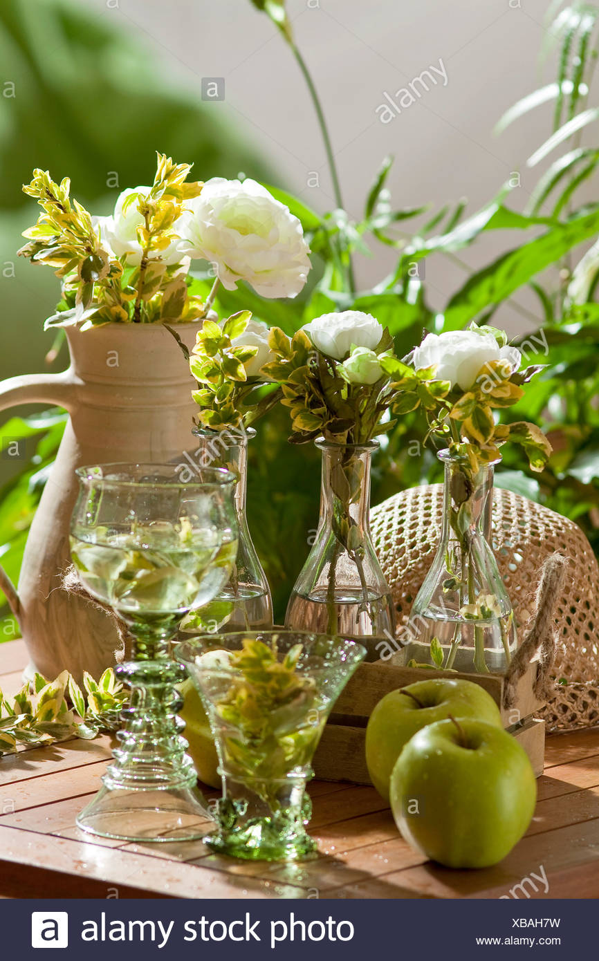 Crowfoot And Green Apple Decorations Stock Photo 282360173