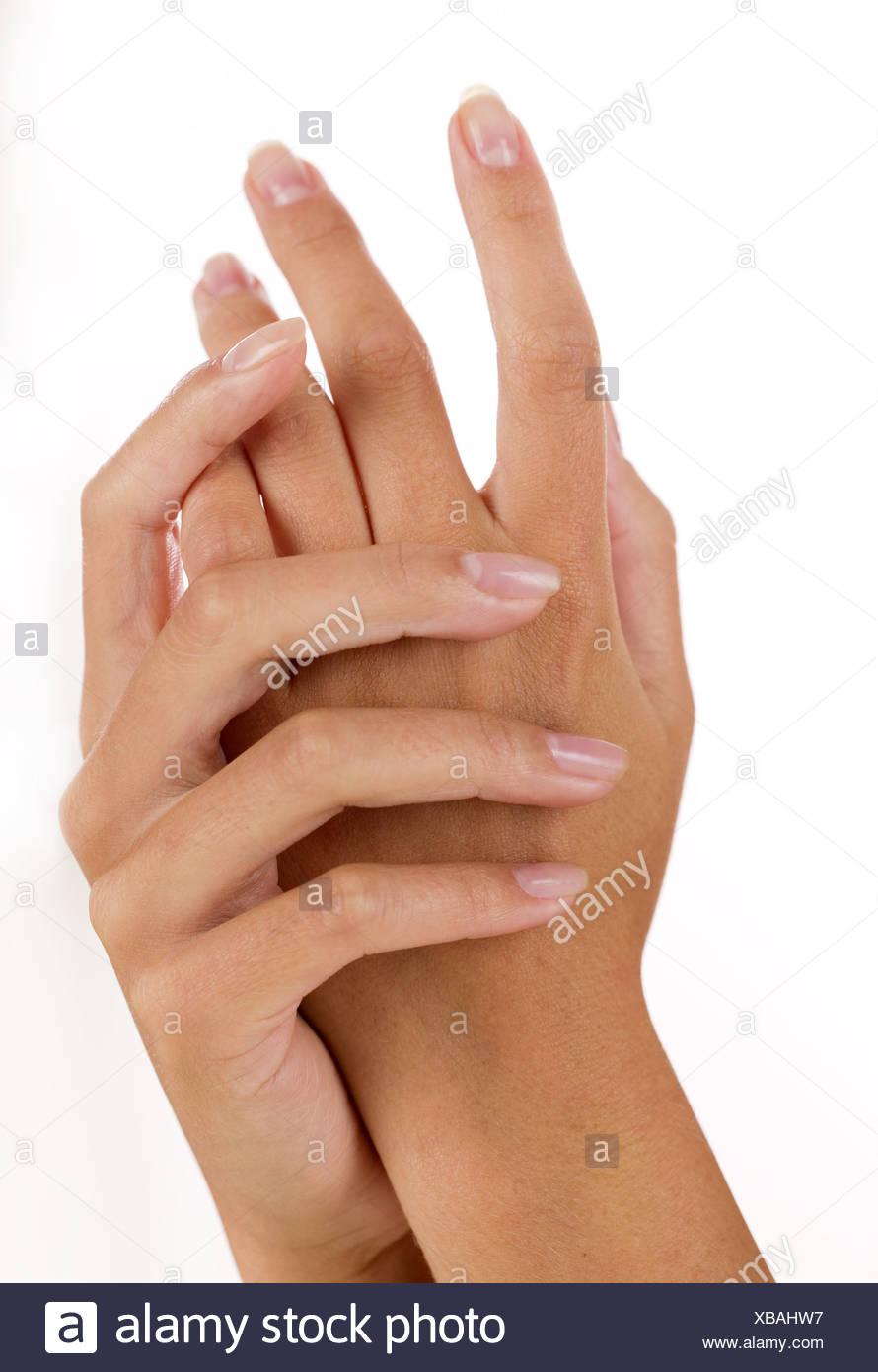 Closeup of female hands - Stock Image