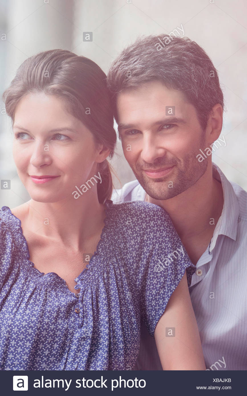 Couple relaxing together, portrait - Stock Image