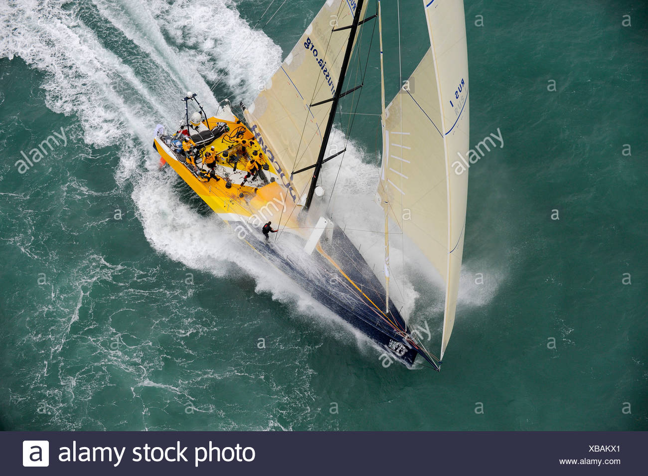 Team Russia sailing with quad headsail at the start of leg one of the 10th Volvo Ocean Race, 2008-2009, Alicante, Spain, Octob - Stock Image