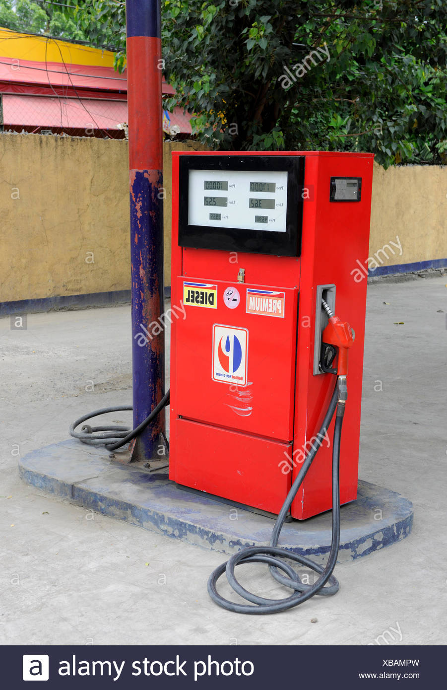 Red fuel pump, Cebu, Philippines, Southeast Asia, Asia - Stock Image