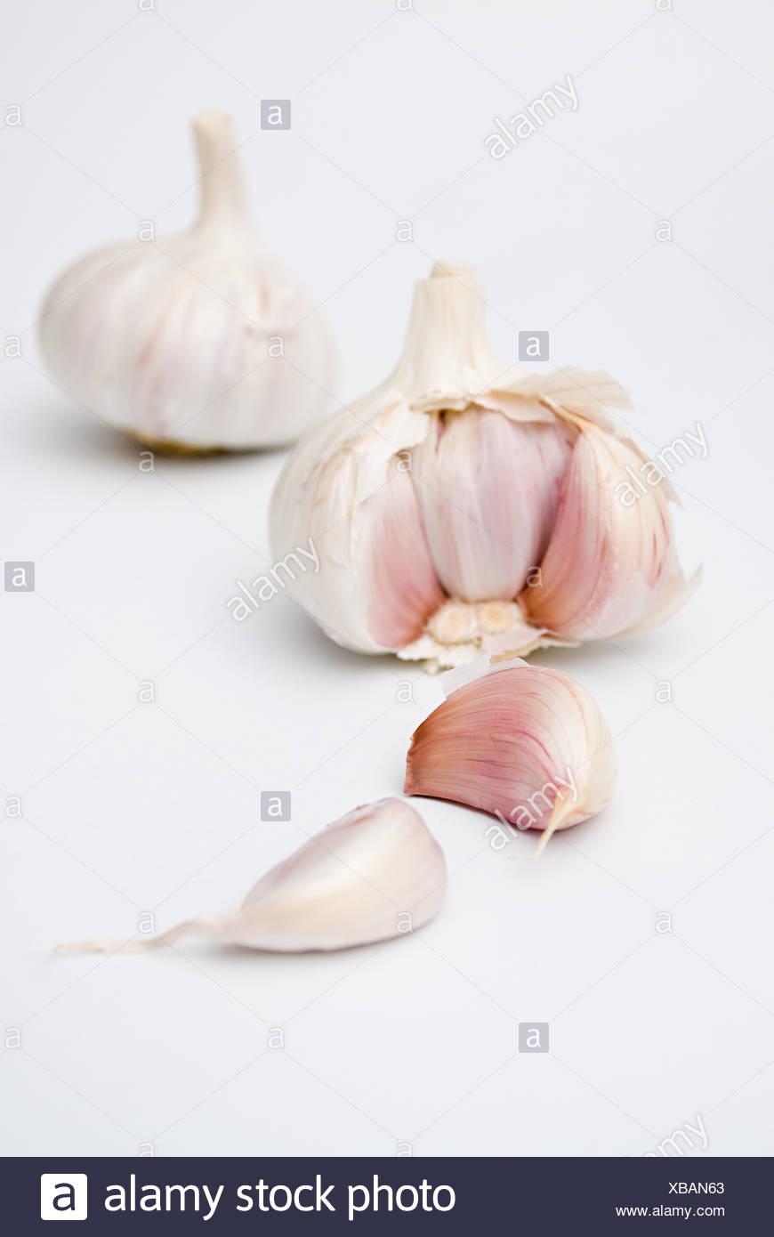 Garlic bulbs and cloves - Stock Image