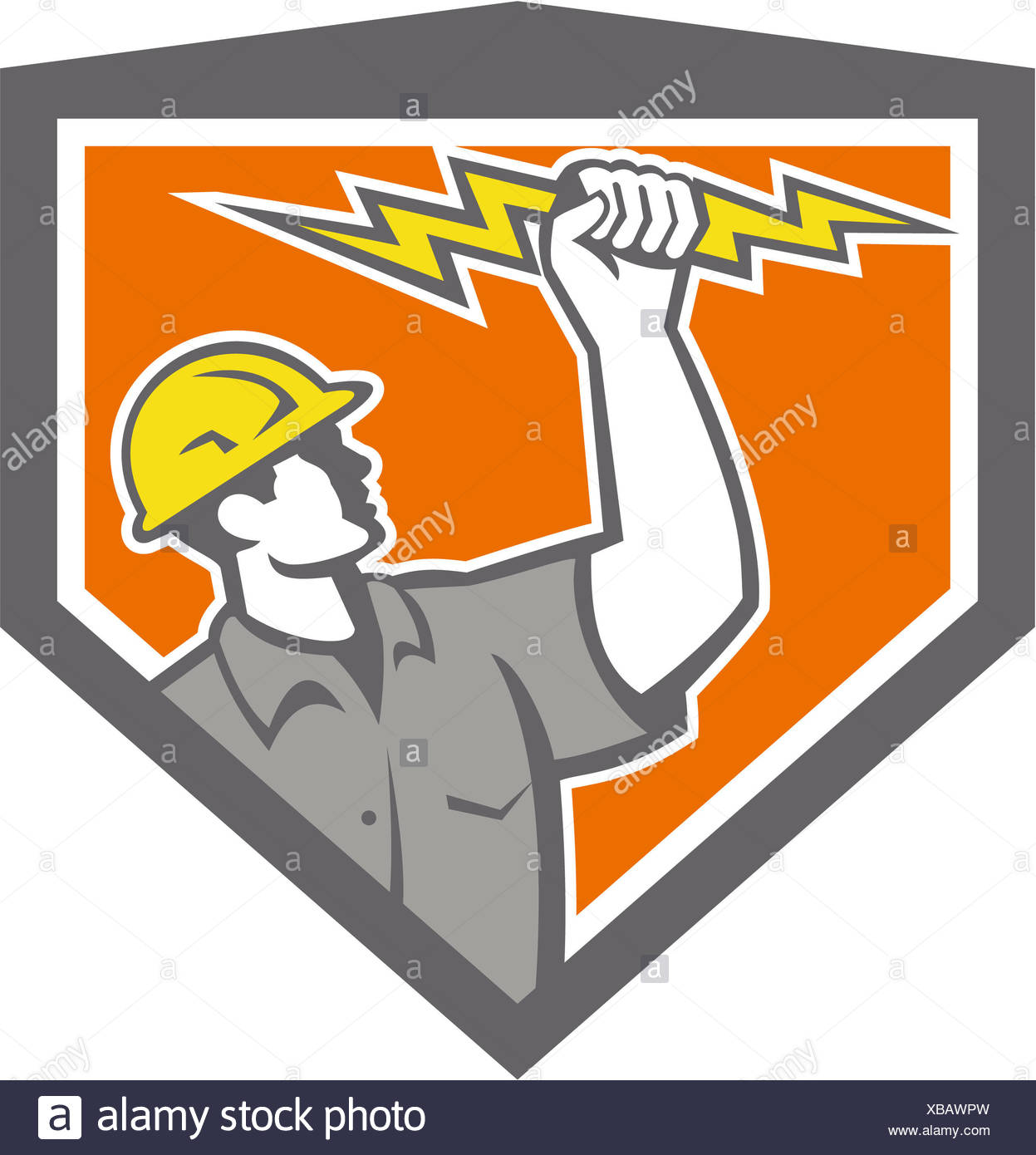 Illustration of an electrician construction worker wield holding a lightning bolt set inside shield crest done in retro style on isolated white background. - Stock Image