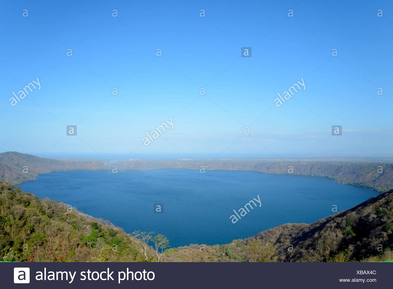 Central America, Nicaragua, Granada, Apoyo, lagune, lake, crater, volcanic, landscape, nature, Catarina - Stock Image