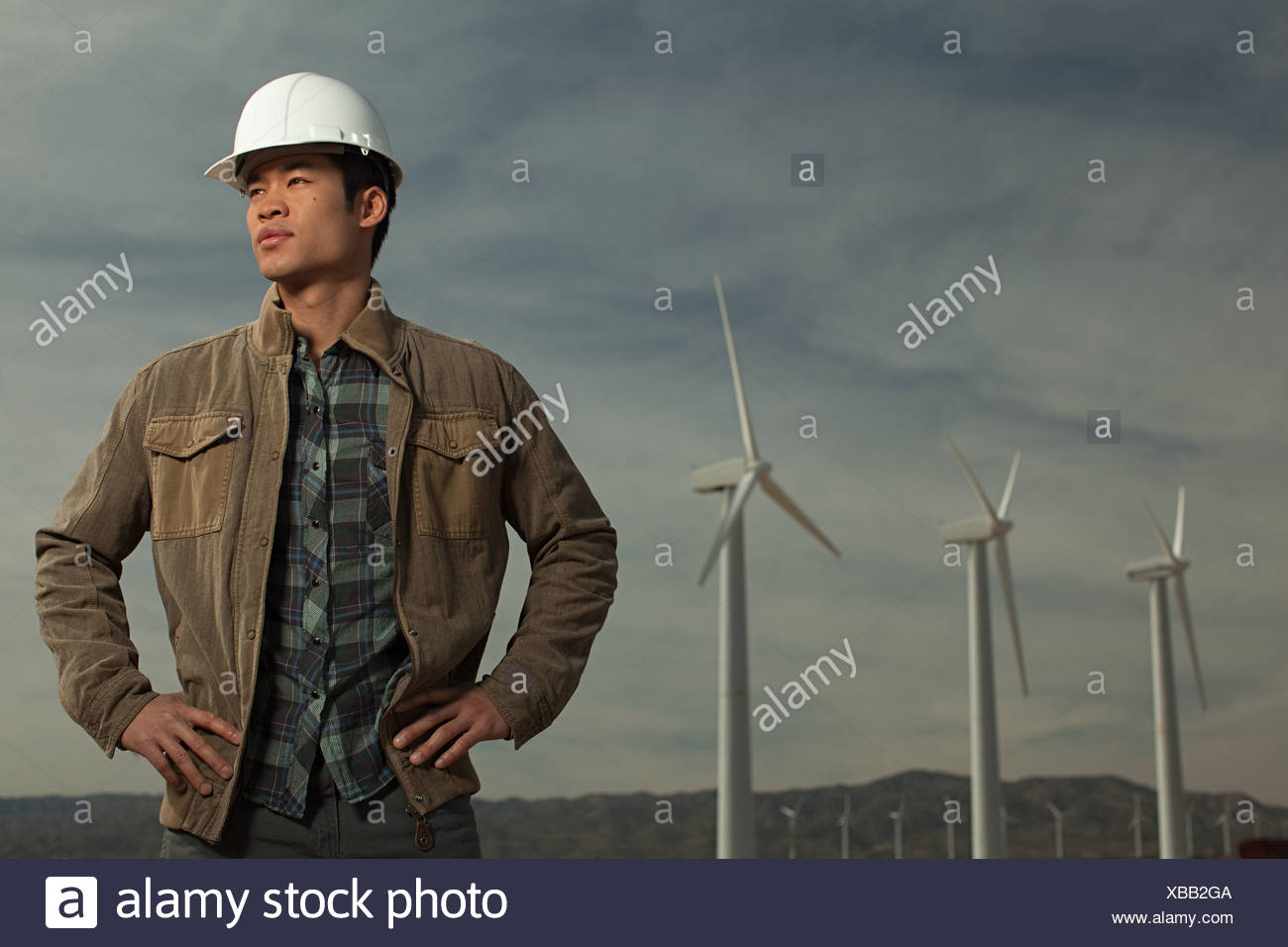 Engineer at a wind farm Stock Photo