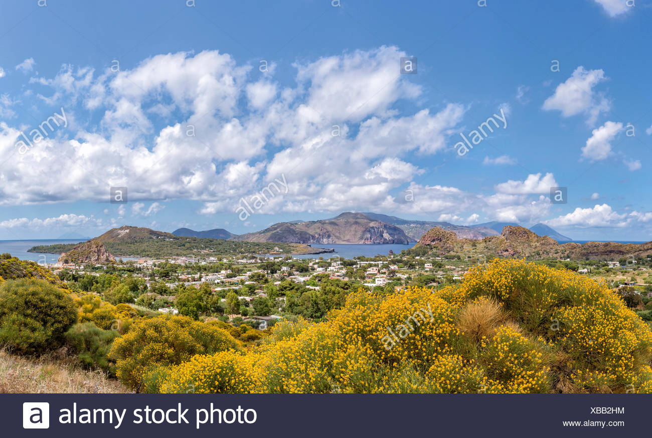 View at the Aeolian islands Volcano and Lipari - Stock Image