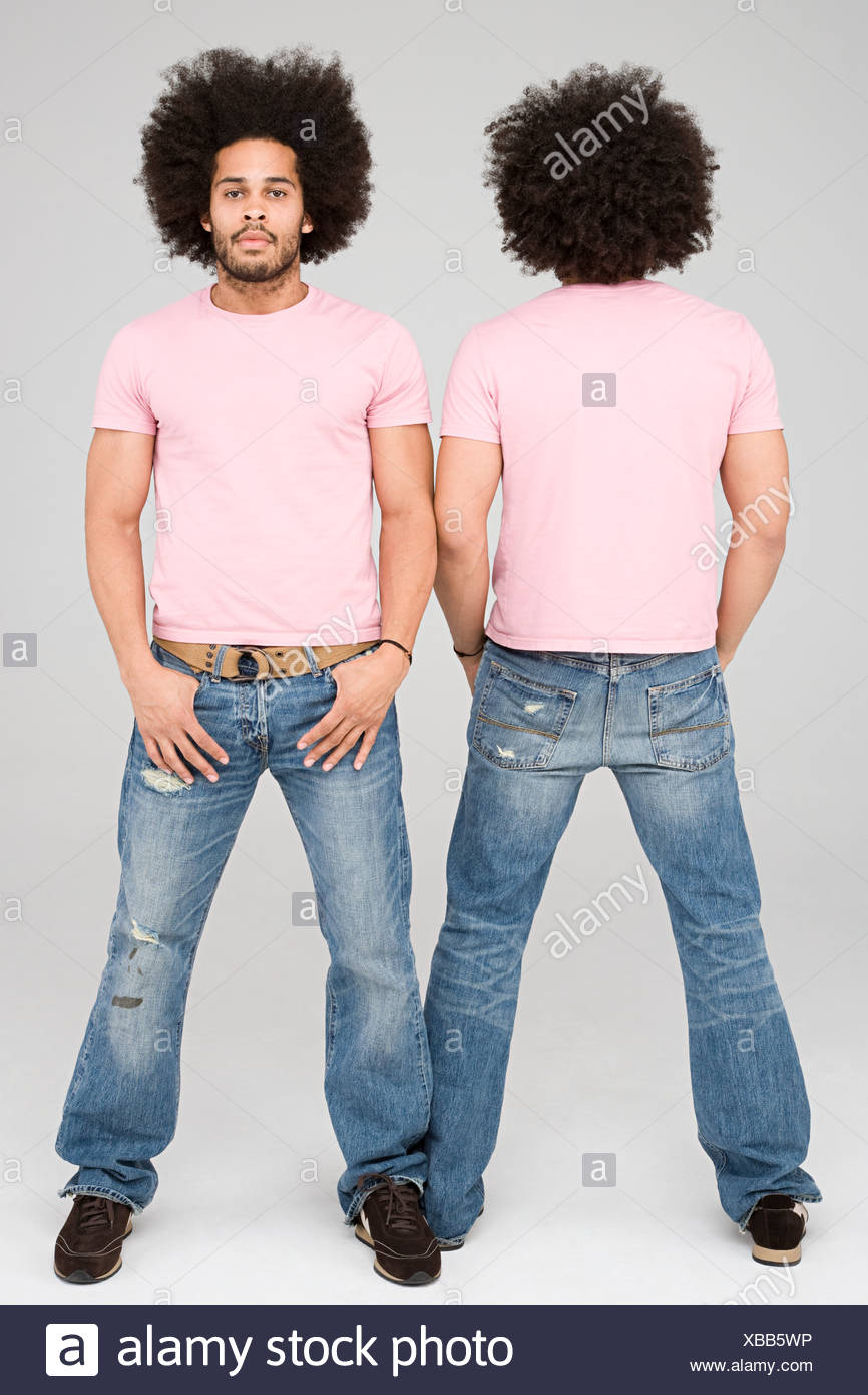 Front view and rear view of twins - Stock Image