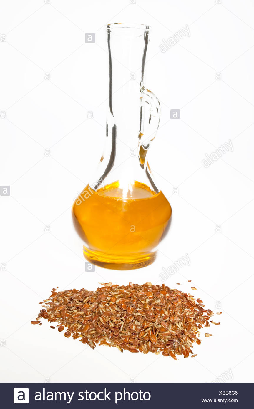 linseed oil and linseed Stock Photo