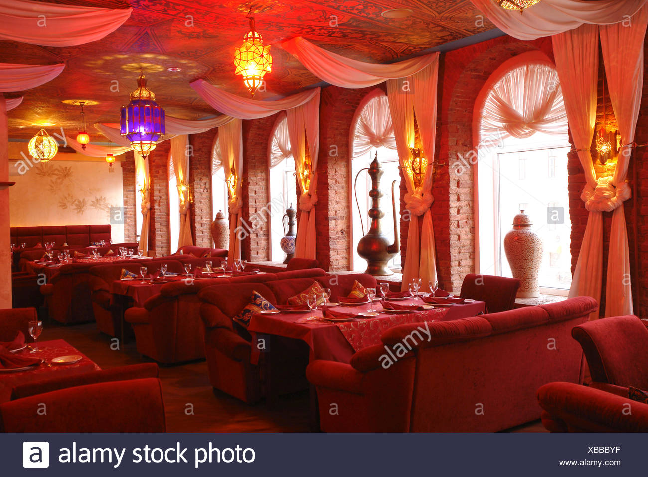 Interior Of A Restaurant In Red Color Stock Photo Alamy