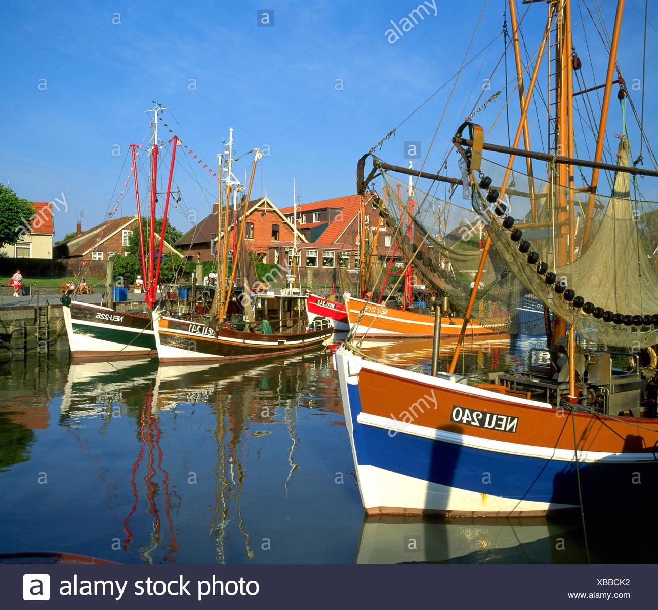 Fisher Boats In A Harbor Germany Lower Saxony East Frisia Neuharlingersiel