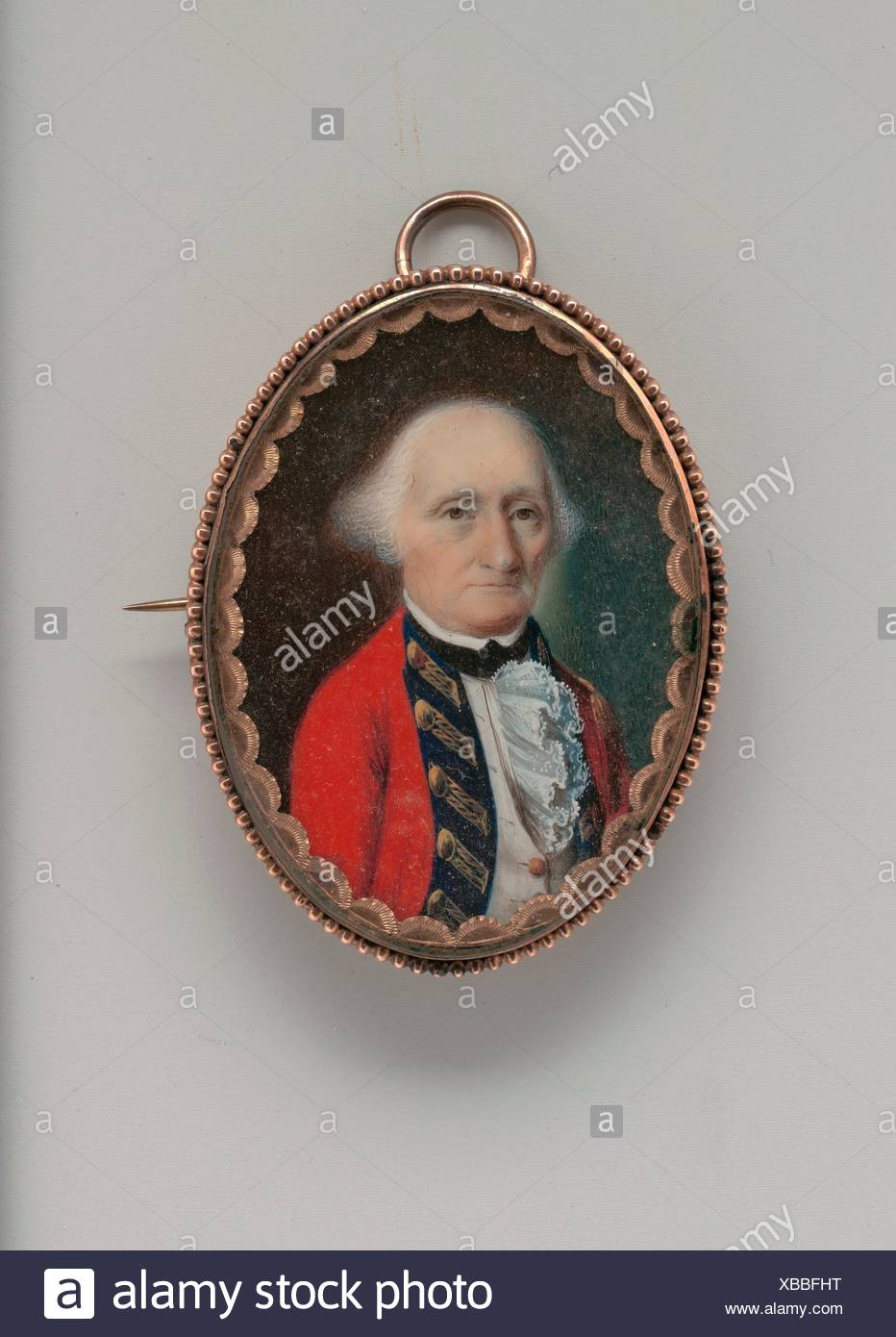 John Maunsell. Artist: John Ramage (Ireland ca. 1748-1802 Montreal); Date: ca. 1785; Medium: Watercolor on ivory; Dimensions: 1 5/8 x 1 1/4 in. (4.1 - Stock Image