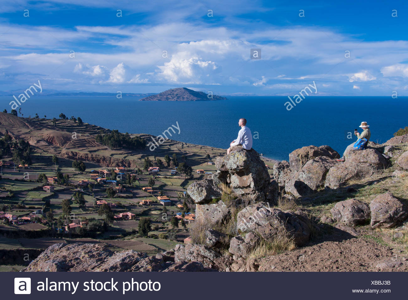 Viewpoint from the top of the island of Island of Amantani, Lake Titicaca, Peru - Stock Image