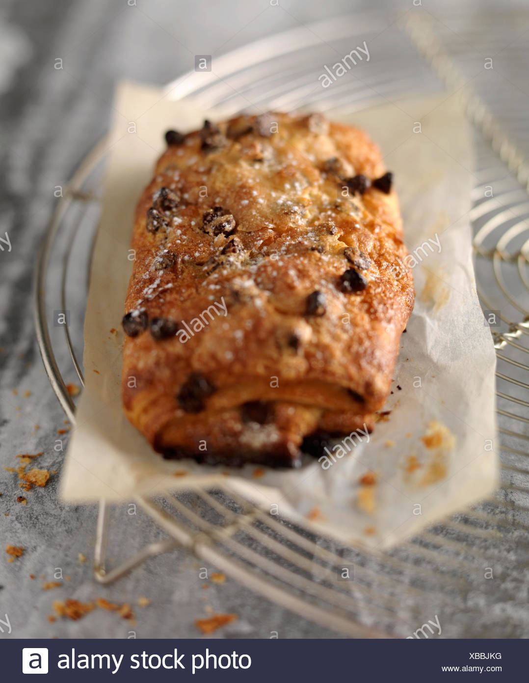 Pain au chocolat with extra chocolate chips - Stock Image