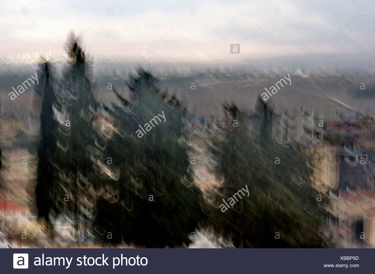 Israel the Lower Galilee A view from Nazareth Digitally manipulated image with motion blur and fuzziness Stock Photo