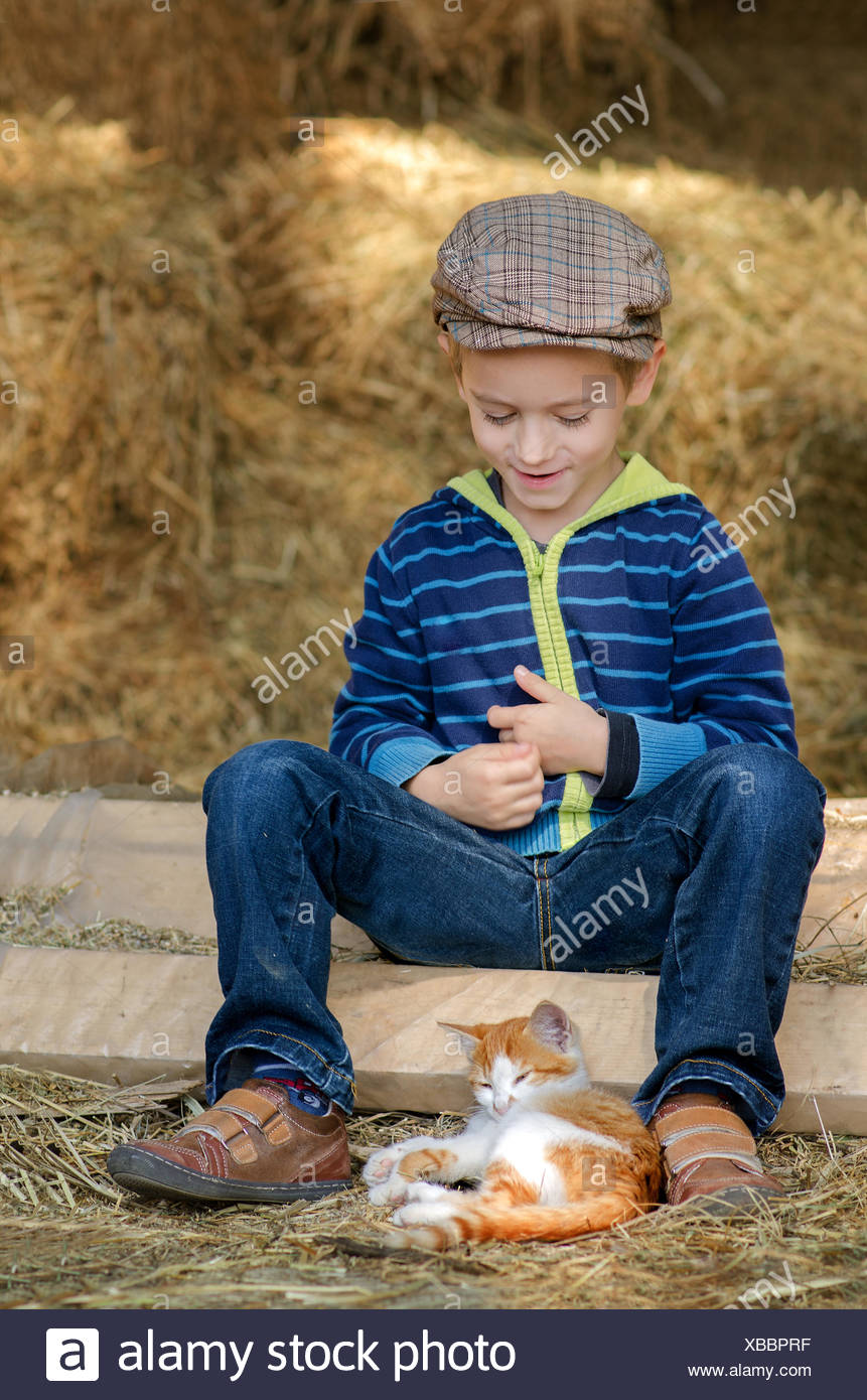 Boy (4-5) with kitten - Stock Image