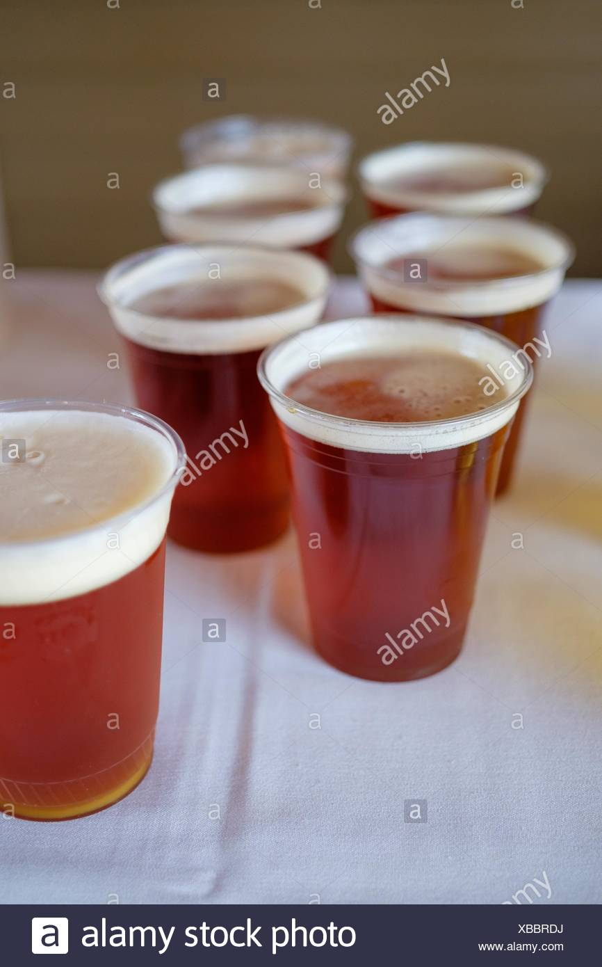 Wedding reception drinks ready to serve featuring this craft beer. - Stock Image