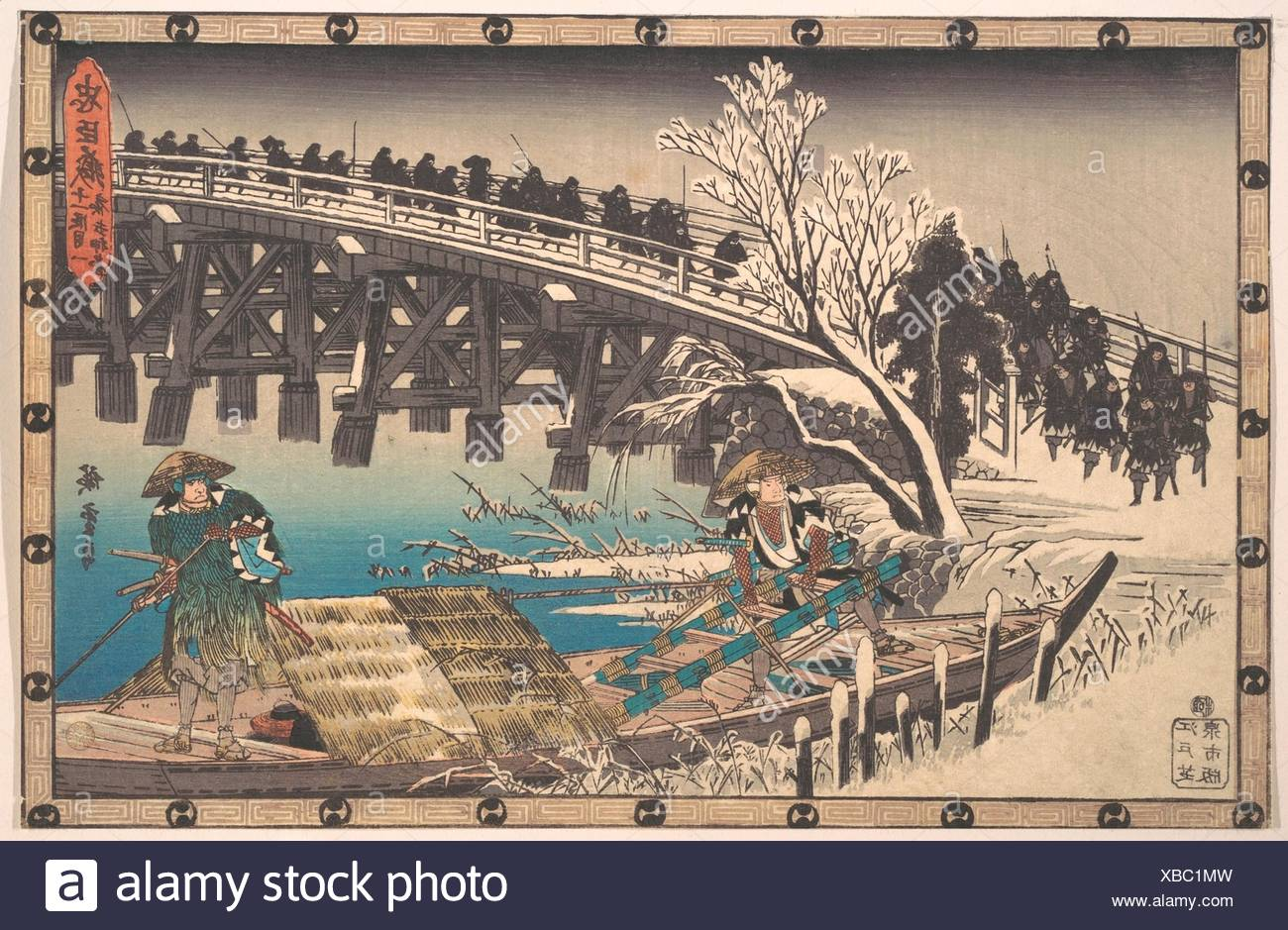 "忠臣蔵 oä¸€æ®µç›®ã€€å¤œæ‰"" 押寄/The Loyal Ronin Crossing the Long Bridge to Embark for the Night Attack upon Moronao. Artist: Utagawa - Stock Image"