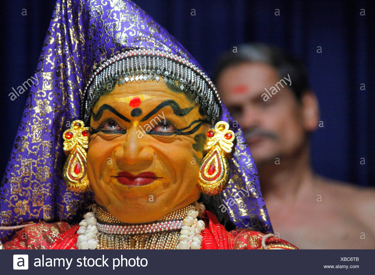 Kathakali, a classical Indian dance-drama, temple dance, Kerala Kathakali Centre, Kochi, Fort Cochin district, Ernakulam region - Stock Image