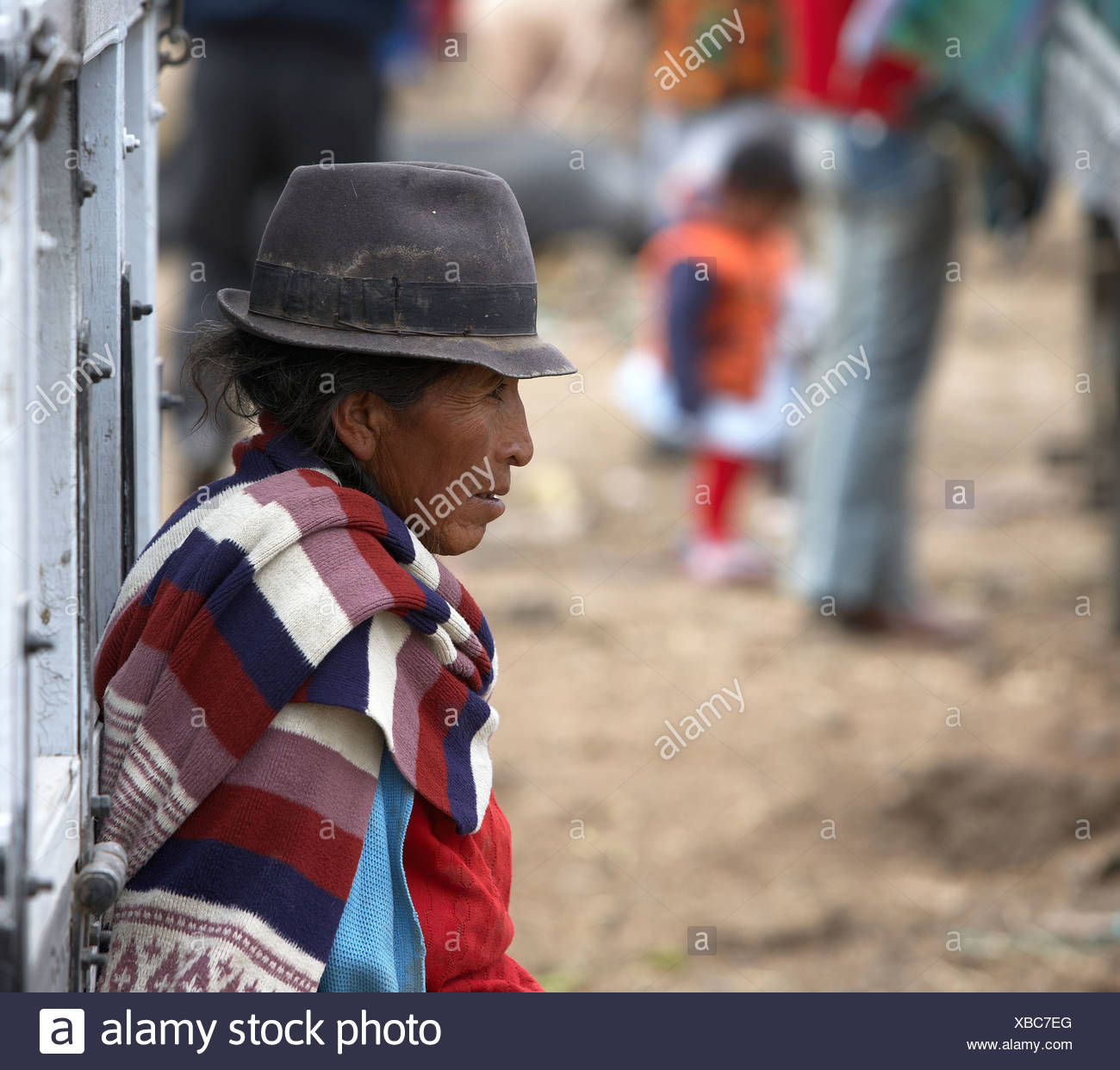Woman at Saquisili Market, Ecuador - Stock Image