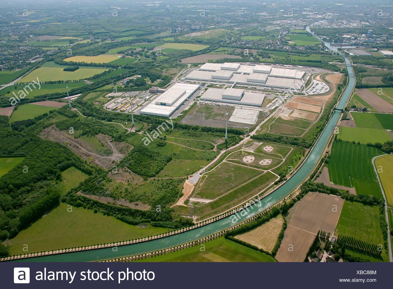 Aerial view, nature protection, compensation areas for the Logistik-Park Westfalenhuette logistics park on the Ellinghausen - Stock Image