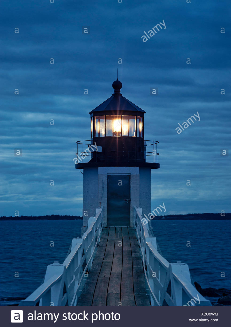 Marshall Point Light, Port Clyde, Maine, ME, USA - Stock Image