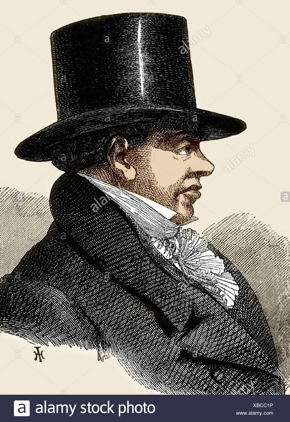 Rothschild, Nathan Mayer, 16.9.1777 - 18.7.1836, German businessman, portrait, side view, engraving, 19th century, Additional-Rights-Clearances-NA - Stock Image