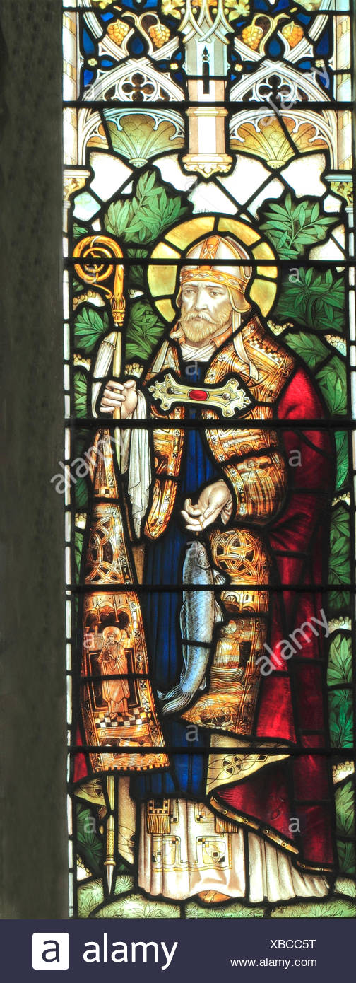 St. Wilfrid, Bishop of Northumbria, stained glass window by J. Powell & Son, 1900,  Blakeney, Norfolk England UK Saxon period - Stock Image